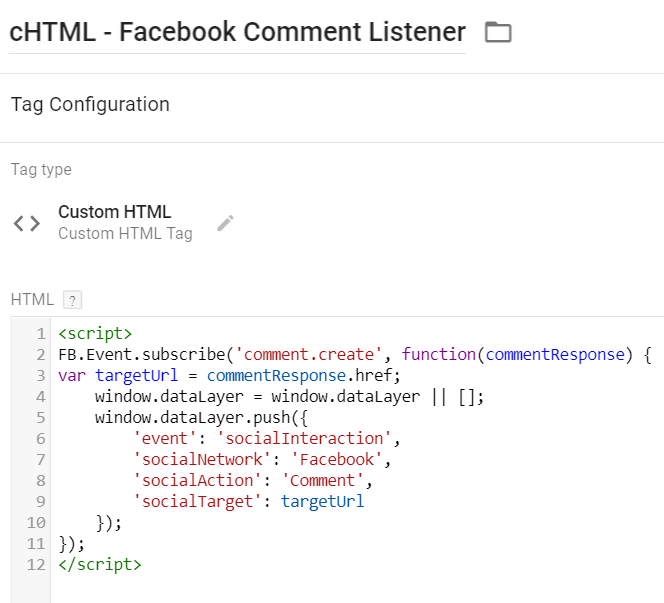 Facebook Comments Listener for Google Tag Manager