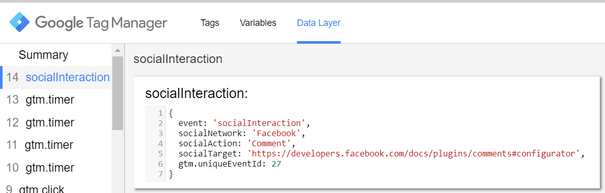 Social Interaction Data Layer event in Google Tag Manager