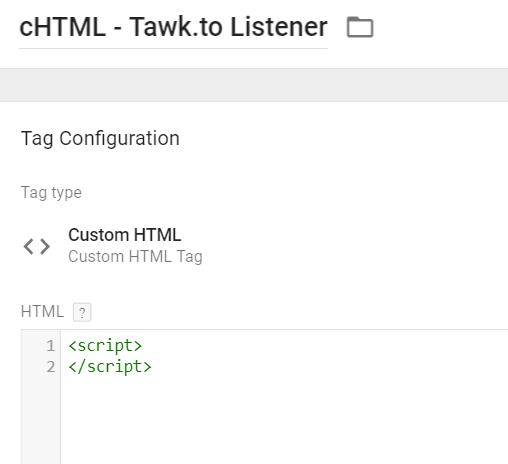 Tawk.to Custom HTML tag - step 1