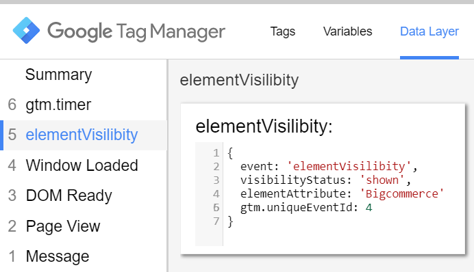 elementVisibility Data Layer event