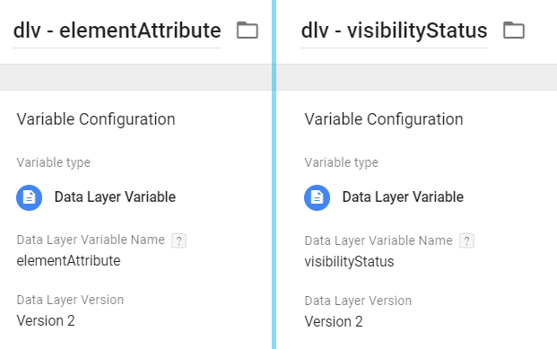 visibilityStatus and elementAttribute variables