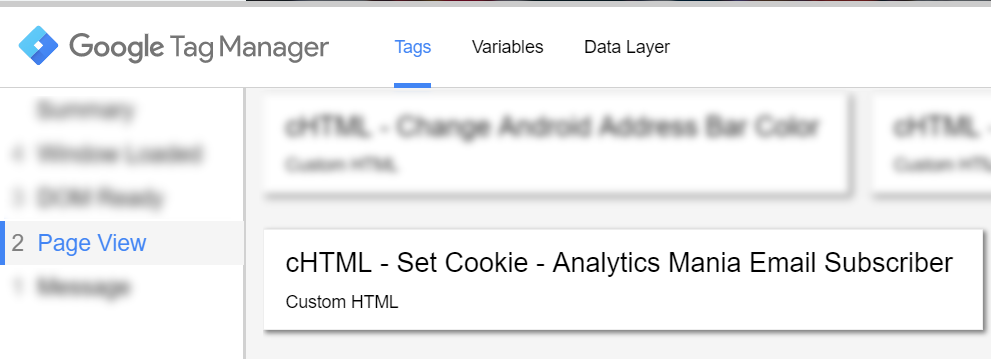 Custom HTML set cookie fired