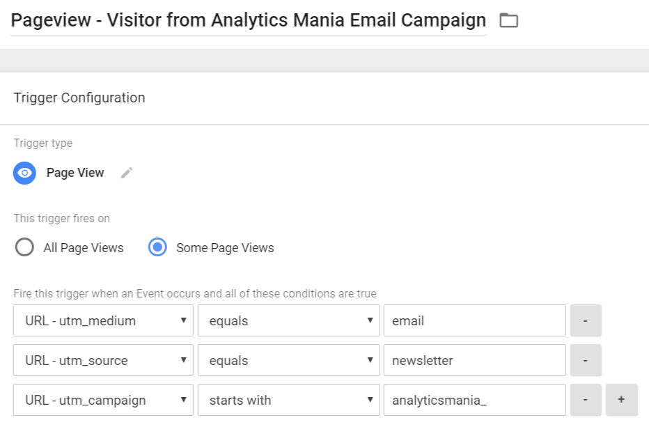 Pageview Trigger - Visitor from Analytics Mania Newsletter
