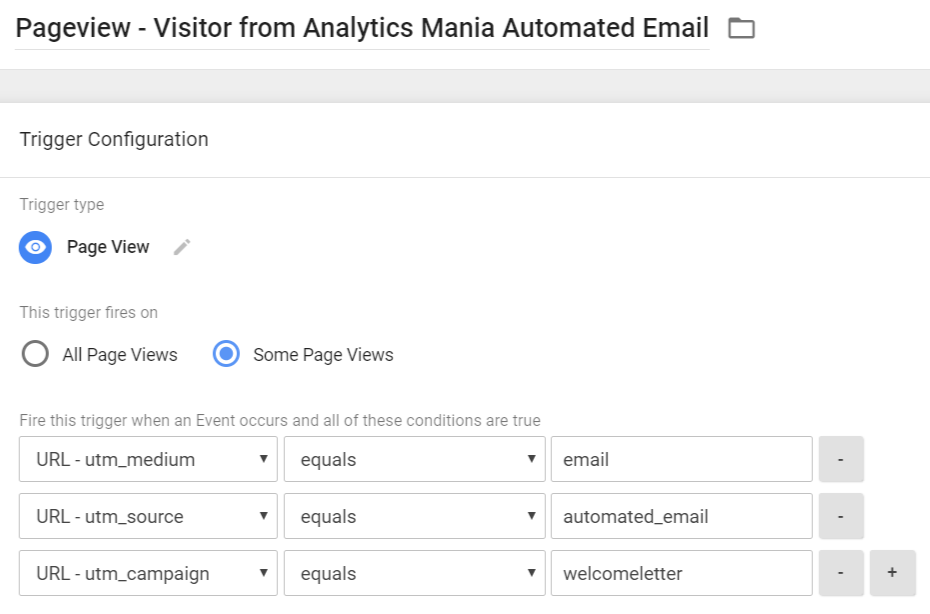 Pageview Trigger - Visitor from Analytics Mania Welcome Email