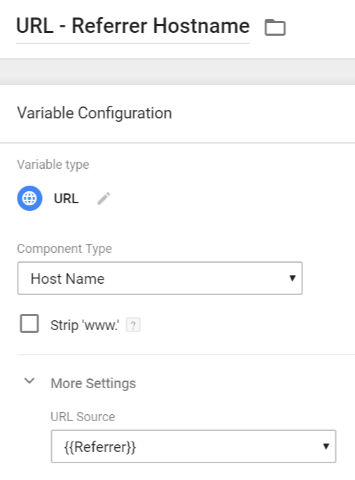 URL variable - Referrer Hostname