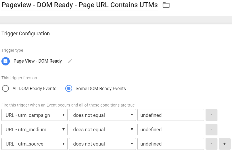 DOM Ready Trigger - URL contains UTMs