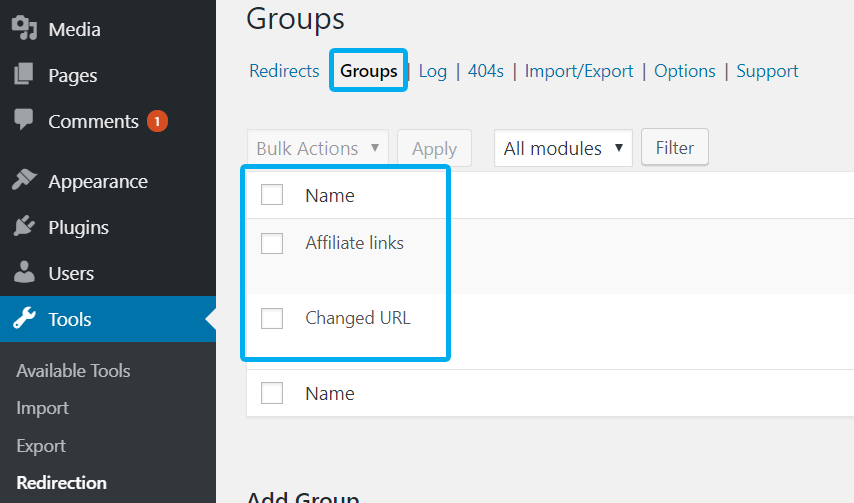 Redirection plugin - Link groups