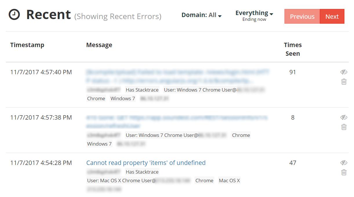 TrackJS errors