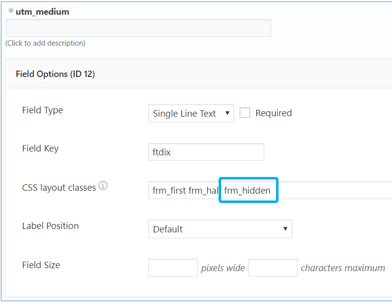 Additional class to hide the form field