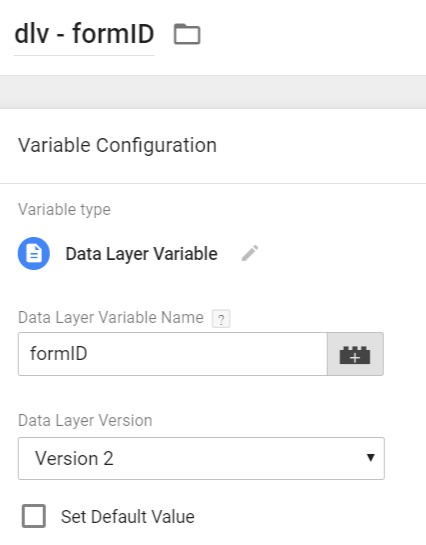 Form ID - Data Layer Variable