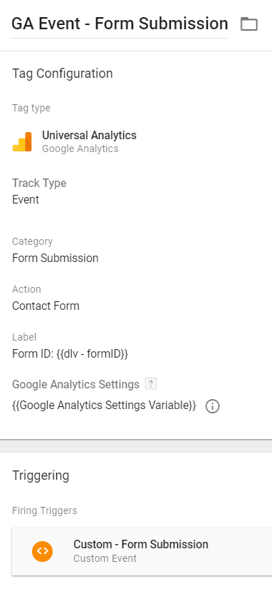 Google Analytics Event Tag - Form Submission