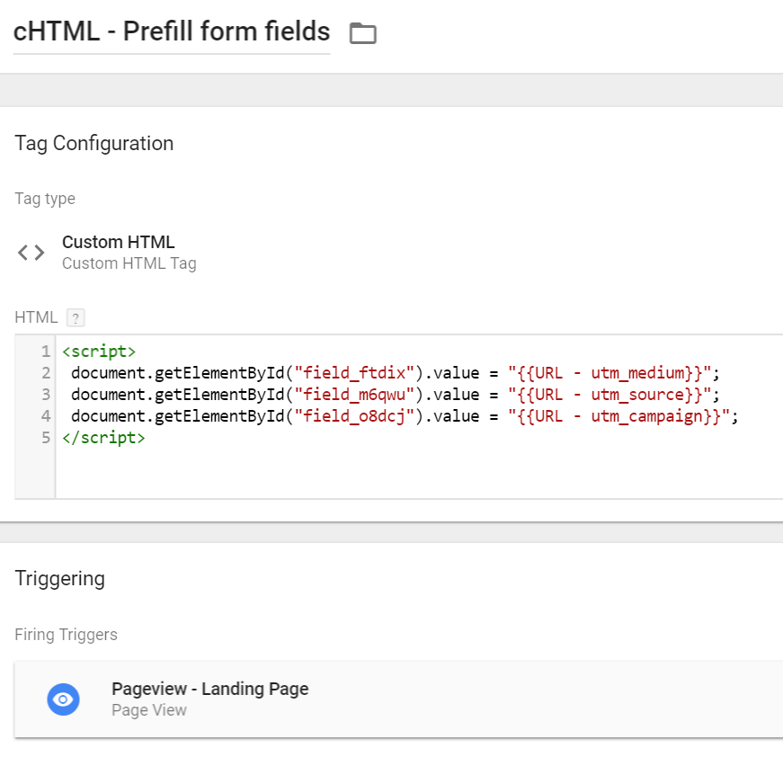 Prefill forms with GTM - Custom HTML Tag