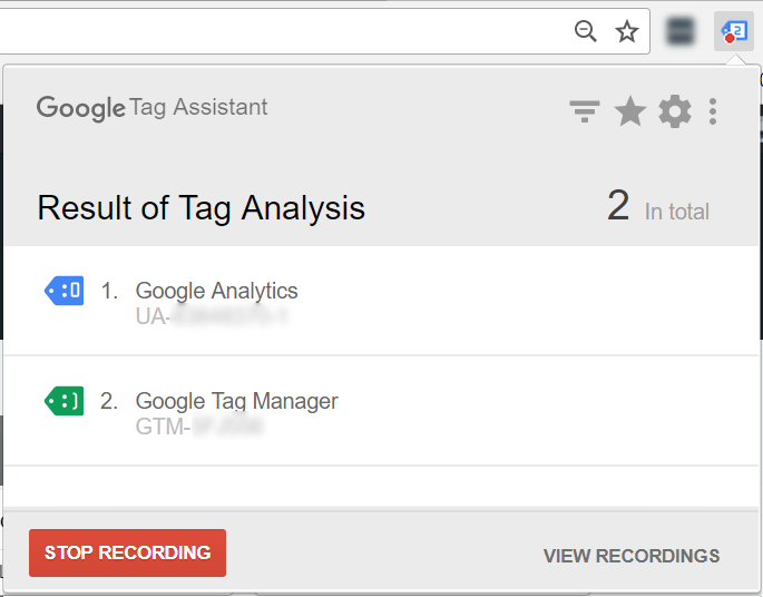 Tag Assistant - Stop recording
