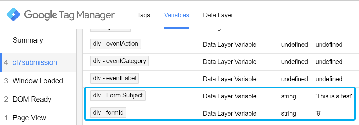 Data Layer variable in the GTM Preview and Debug mode