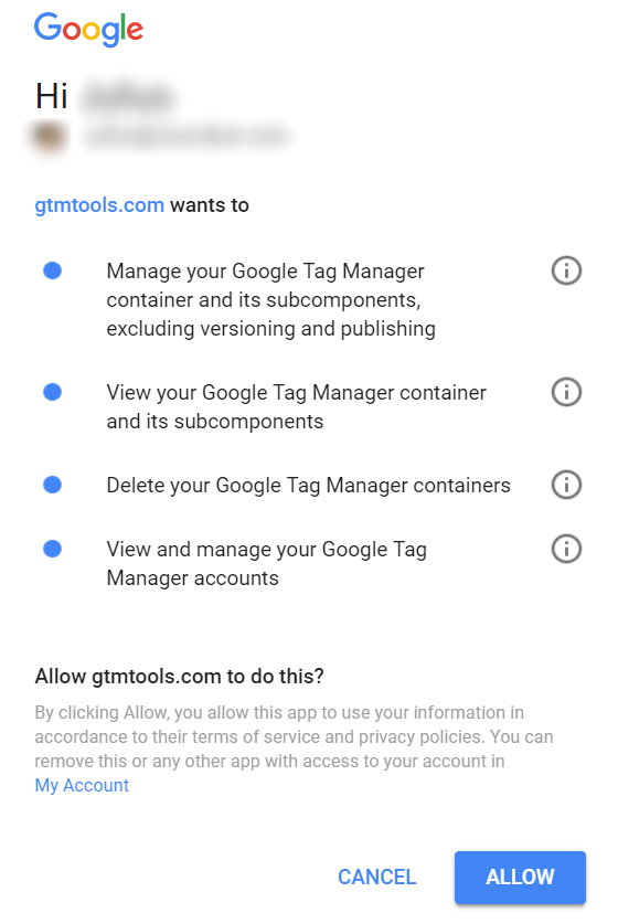 GTM Tools - Google Permissions