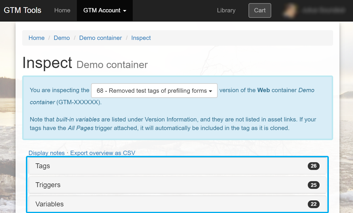 Inspecting the GTM container in GTM Tools