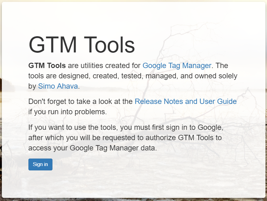 Signin page - GTM Tools