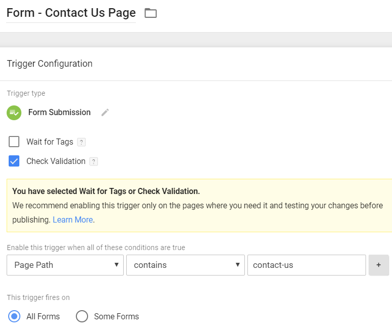 Updated Form Tracking Trigger in Google Tag Manager