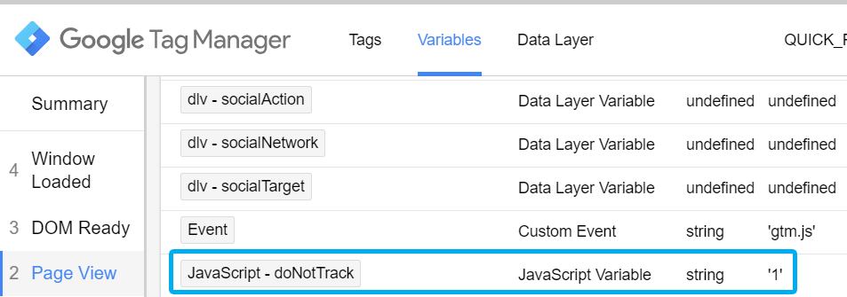 Do Not Track in Google Tag Manager Preview Console