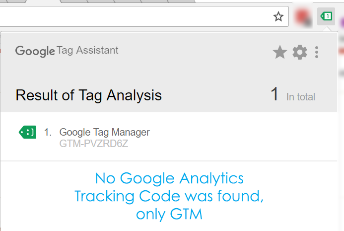 Tag Assistant - no Google Analytics