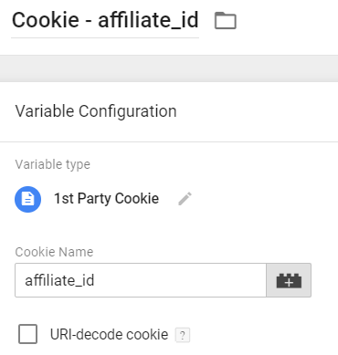 cookie variable - affiliate id