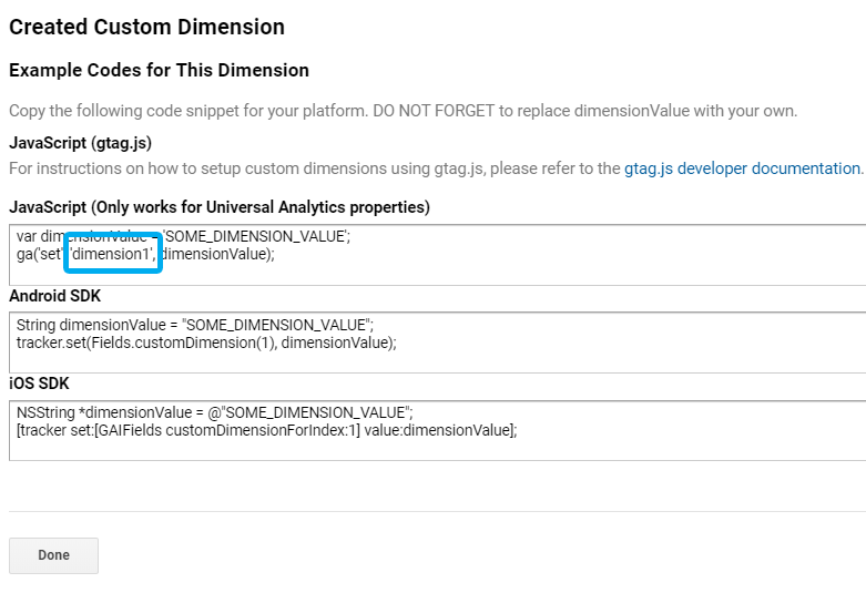 dimension 1 in Google Analytics