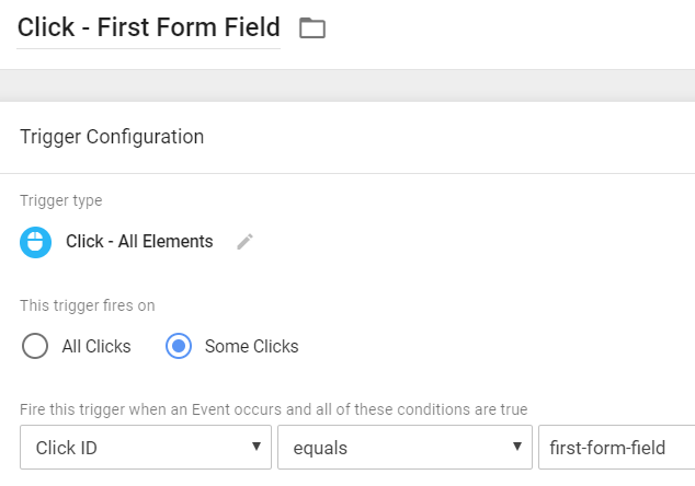 Click Trigger - First Form Field