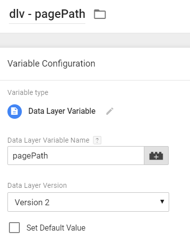 Data Layer Variable - pagePath