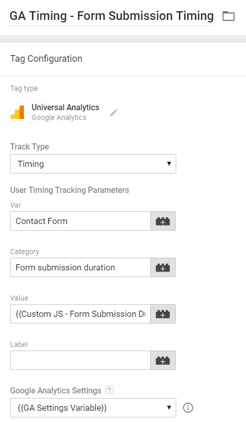 Form Timing - Universal Analytics TAg
