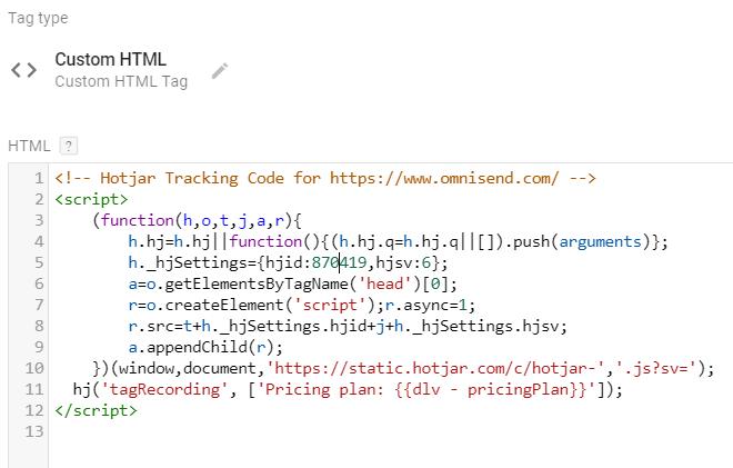 Hotjar Tracking Code - Custom HTML tag