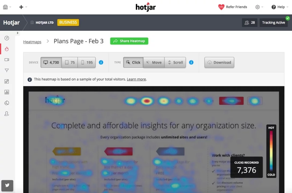Hotjar screenshot