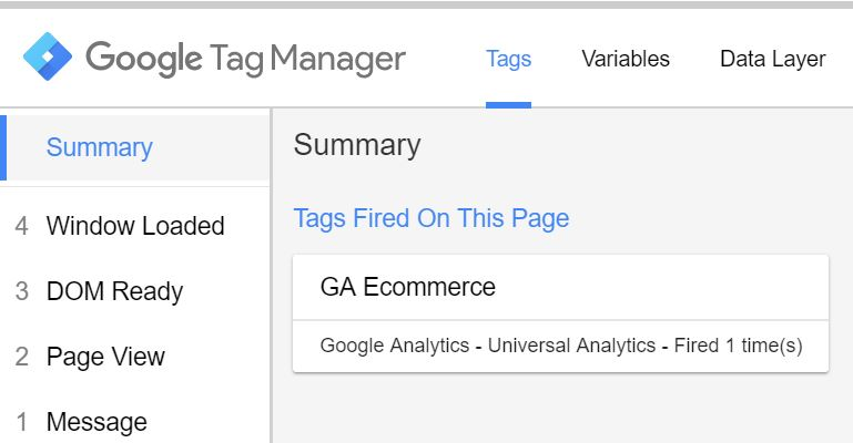 Ecommerce Tag in Google Tag Manager - Preview and Debug Mode
