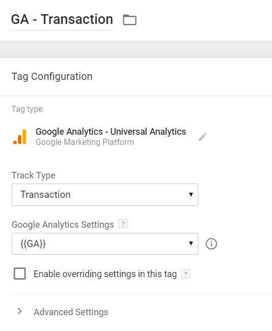 Google Analytics Ecommerce Transaction Tag in Google Tag Manager