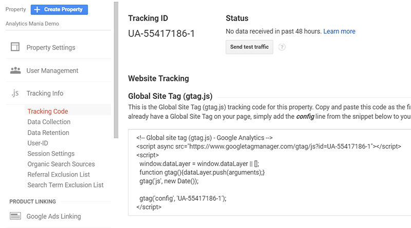 Gtag tracking code
