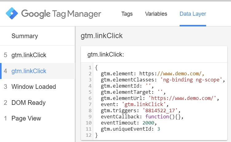 Link click in the data layer