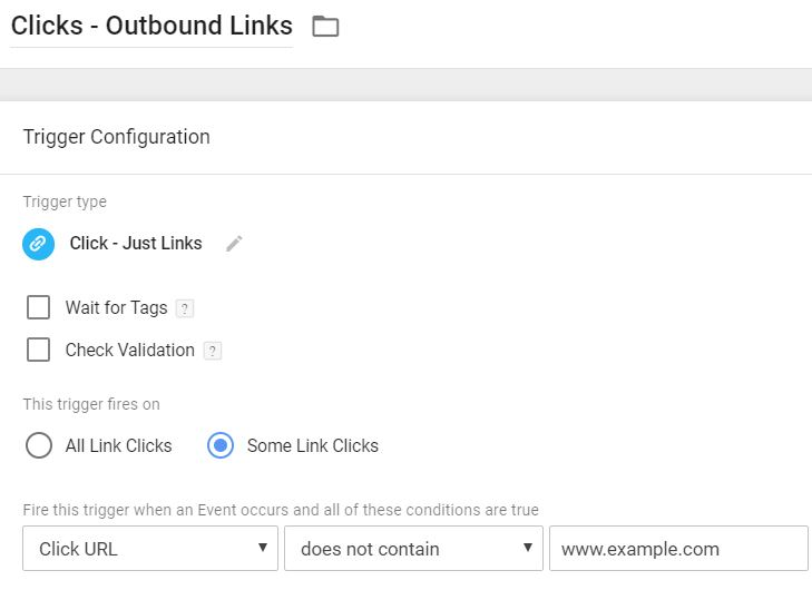 Outbound link click trigger