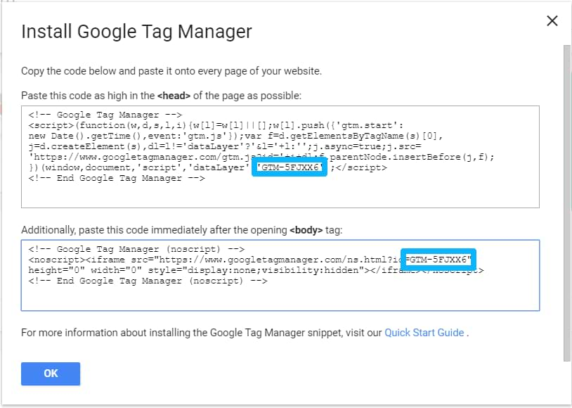 google tag manager id