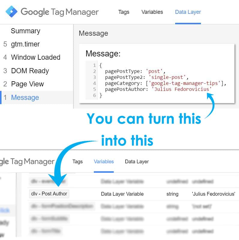 turn data from the data layer to a variable in google tag manager