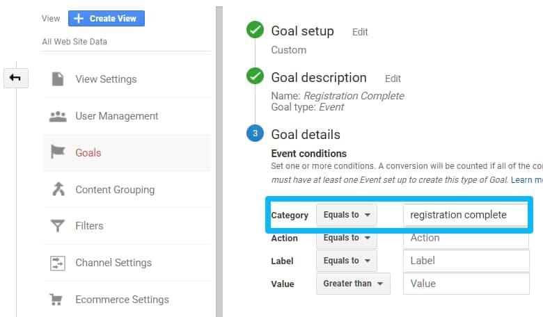 google analytics goal configuration