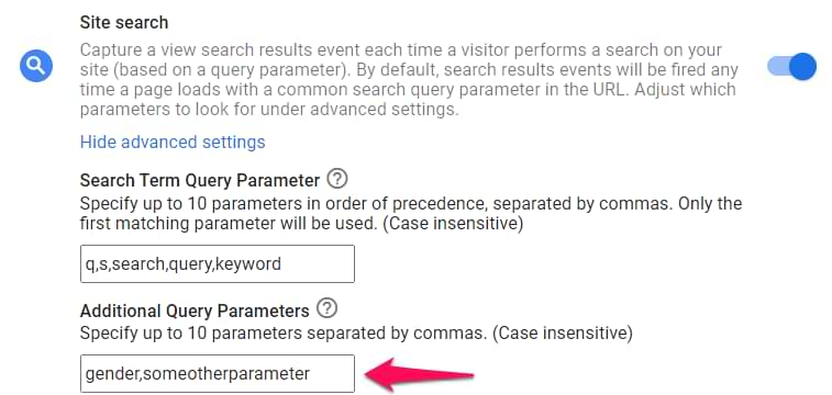 additional query parameters in google analytics 4 search tracking