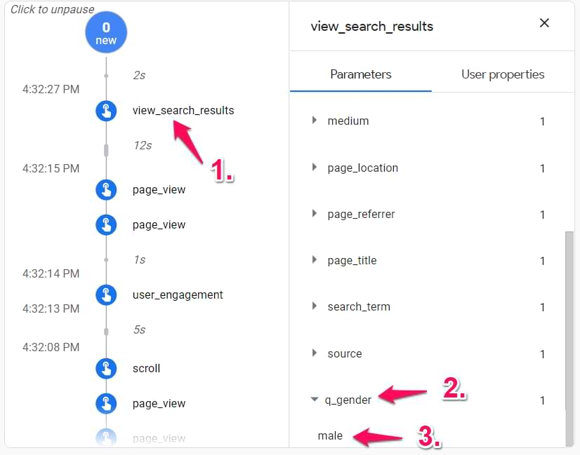 search event in google analytics 4 debugview