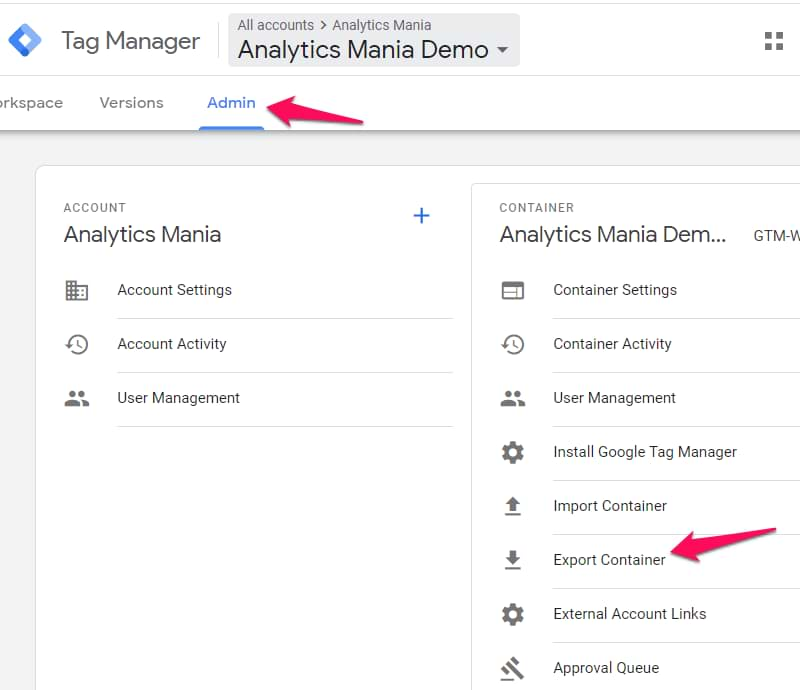 export google tag manager container
