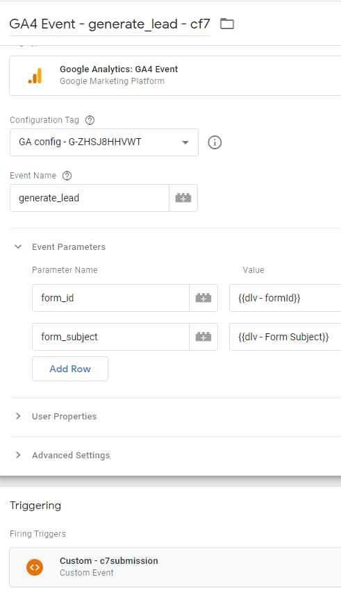 google analytics 4 event tag - contact form 7