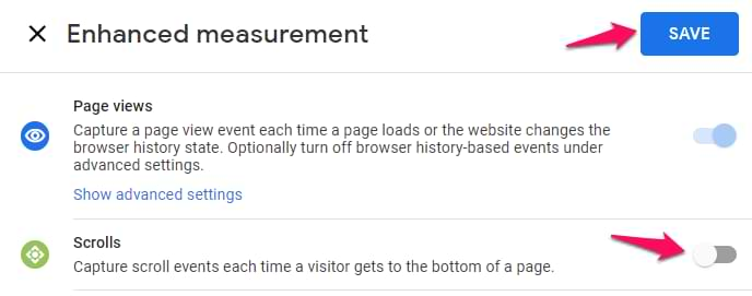disable scroll tracking in google analytics 4 enhanced measurement