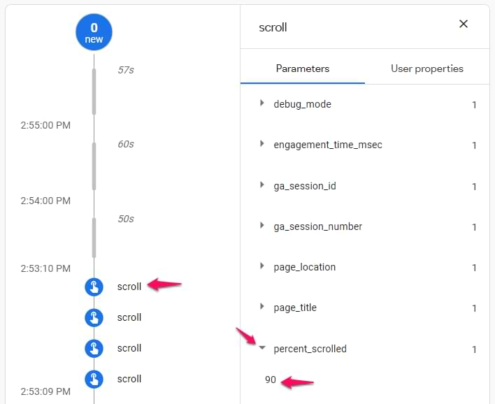 scroll event in google analytics 4 debugview