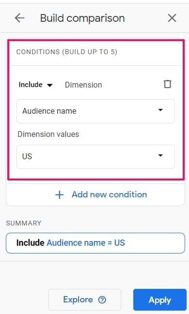 comparison in google analytics 4